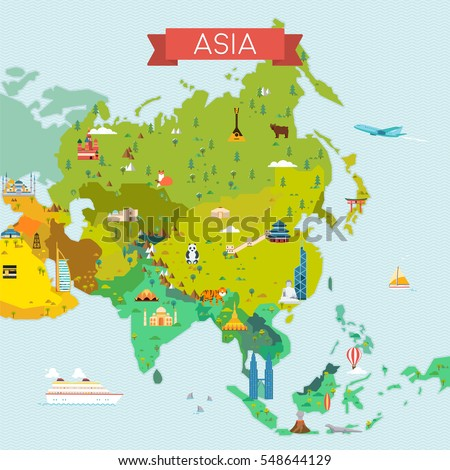 Map asia travel tourism background vector stock vector 2018 map of asia travel and tourism background vector flat illustration gumiabroncs Image collections