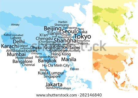 Map of Asia with largest cities. Carefully scaled text by city population. Geographically correct. - stock vector