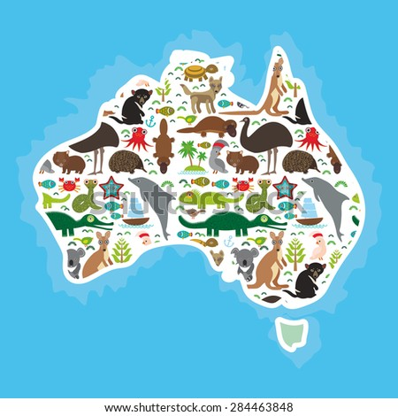 map of Australia. Echidna Platypus ostrich Emu Tasmanian devil Cockatoo parrot Wombat snake turtle crocodile kangaroo dingo octopus fish. Vector illustration - stock vector