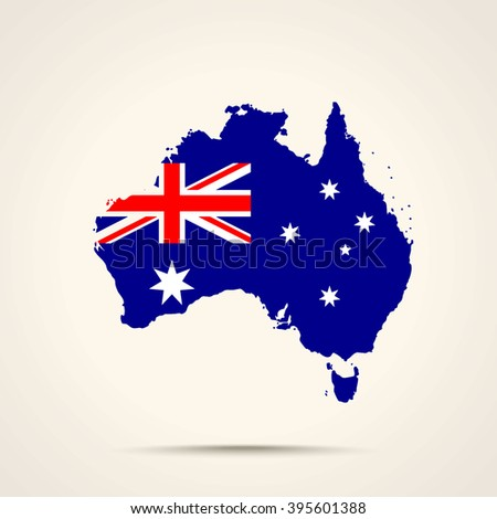 Map of Australia in Australia flag colors - stock vector