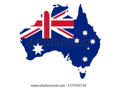 Map of Australia in Australian flag colors - stock vector