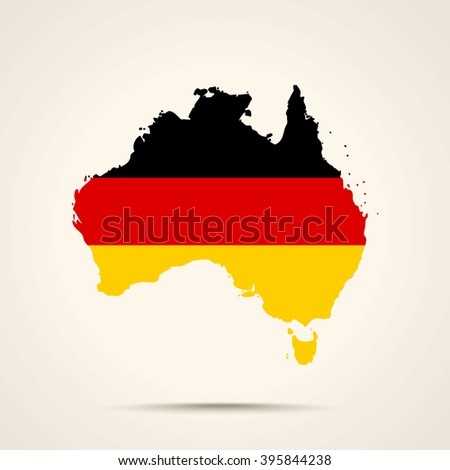 Map of Australia in Germany flag colors