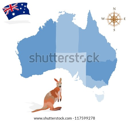 Map of Australia, regions and islands - stock vector
