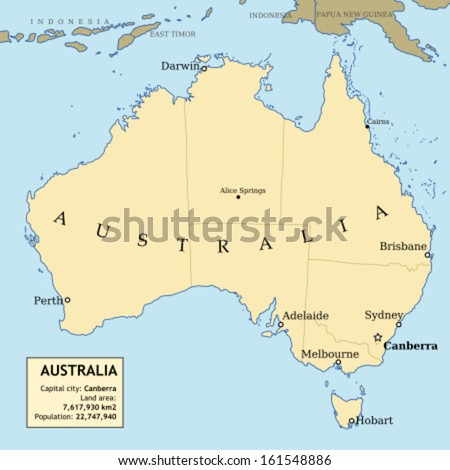 map of australia with all important cities and administrative division into states information box with