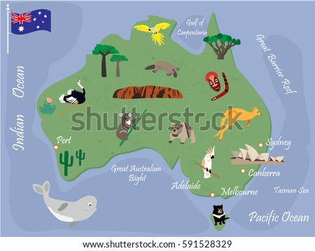 Map Australia Animals Famous Landmarks Stock Vector - Argentina landmarks map