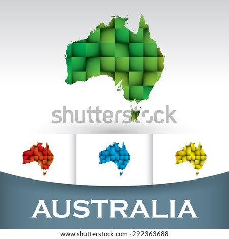 Map of Australia with colorful tiles - stock vector