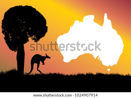 map of Australia with kangaroo and unique Boab tree which is the icon of the Kimberley region of Western Australia