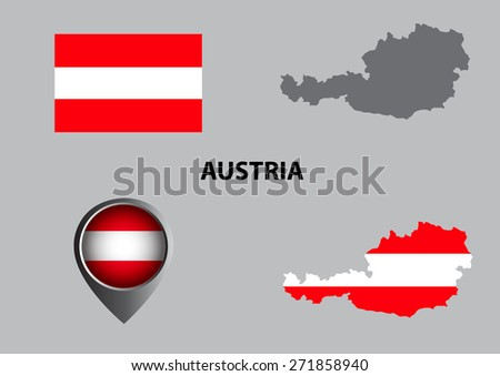 Map of Austria and symbol - stock vector
