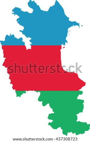map of Azerbaijan with the image of the national flag