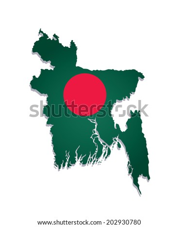 map of Bangladesh with the image of the national flag - stock vector