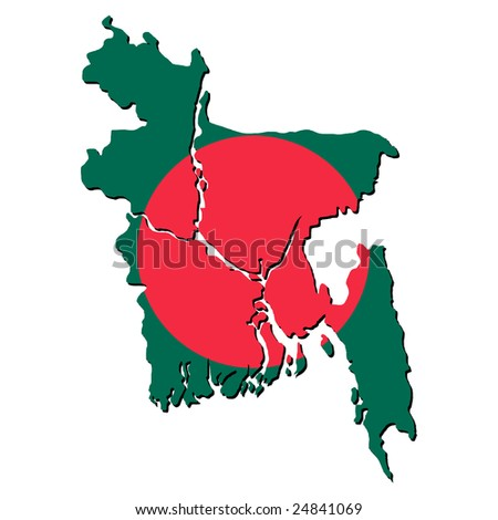 map of Bangladesh with their flag illustration