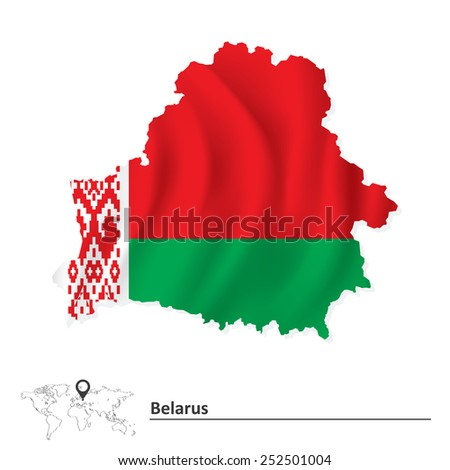 Map of Belarus with flag - vector illustration - stock vector