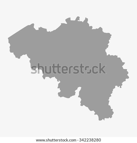 Map  of Belgium in gray on a white background