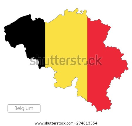 Map of Belgium with an official flag. Illustration on white background - stock vector