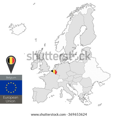 Map of Belgium with an official flag. Location on European Union map - stock vector