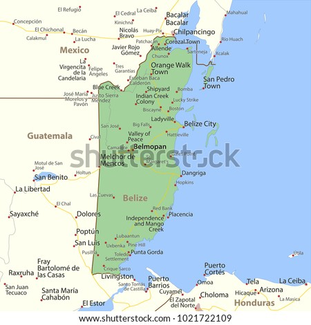 Map belize shows country borders urban stock vector 2018 map of belize shows country borders urban areas place names and roads gumiabroncs Image collections