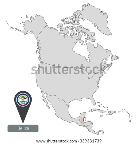Map Belize Official Flag Location North Stock Vector 339331739