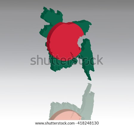 Map of Bhutan with flag 3D, silhouette, reflection, EPS10 vector