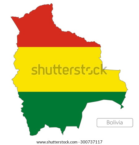 Map of Bolivia with an official flag. South America. Illustration on white background