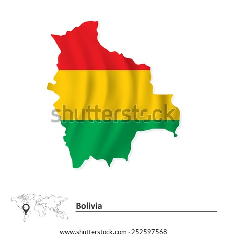 Map of Bolivia with flag - vector illustration