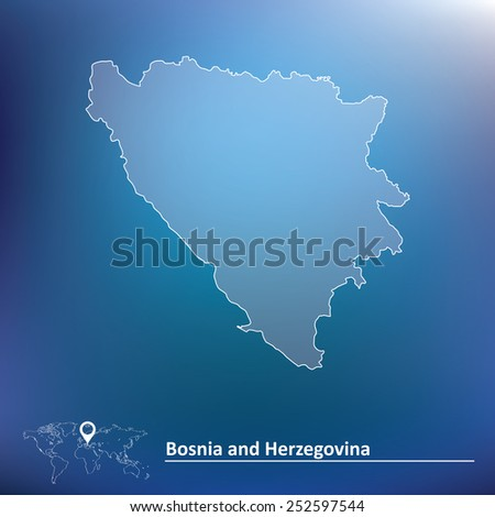 Map of Bosnia and Herzegovina - vector illustration - stock vector