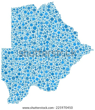 Map of Botswana - Africa - in a mosaic of blue bubbles - stock vector