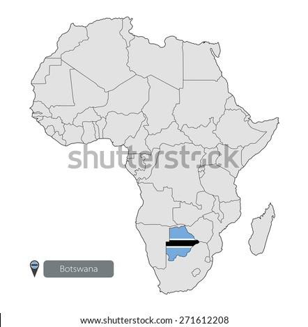 Map of Botswana with an official flag. Location on the continent of Africa - stock vector