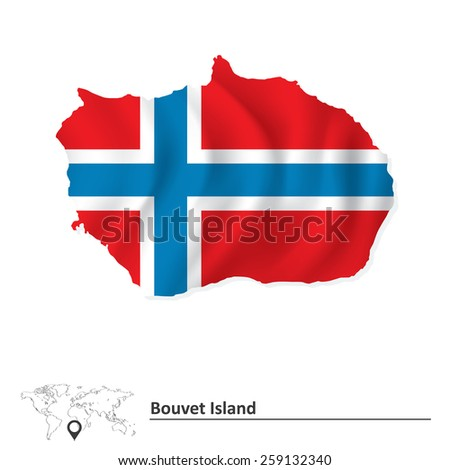 Map of Bouvet Island with flag - vector illustration - stock vector