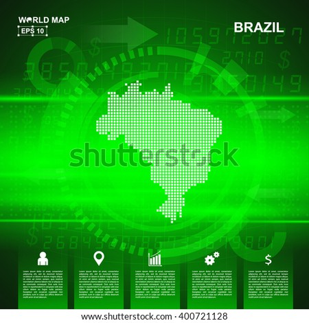 Map Of Brazil,Abstract Green background, pixel vector illustration - stock vector
