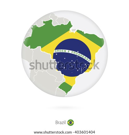 Map of Brazil and national flag in a circle. Brazil map contour with flag. Vector Illustration. - stock vector