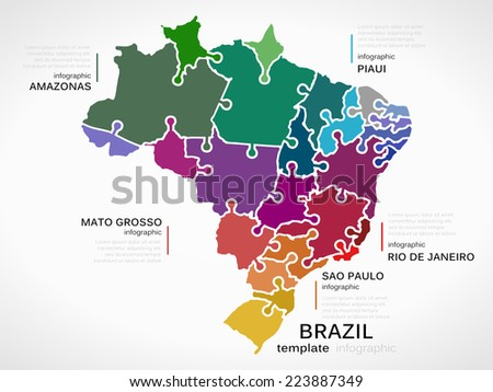 Map brazil concept template states made stock vector 223887349 map of brazil concept template with states made out of puzzle pieces gumiabroncs Choice Image