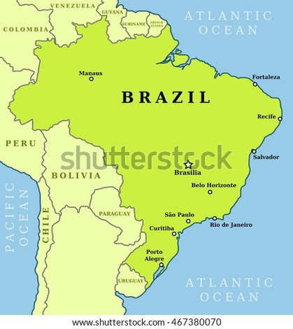 Map of Brazil. Country outline with 10 largest cities including Brasilia, capital city.