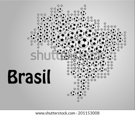 Map of Brazil made of football ball. vector art image illustration, black and white color design, isolated on gray background - stock vector