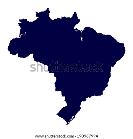 Map of Brazil on white background - stock vector