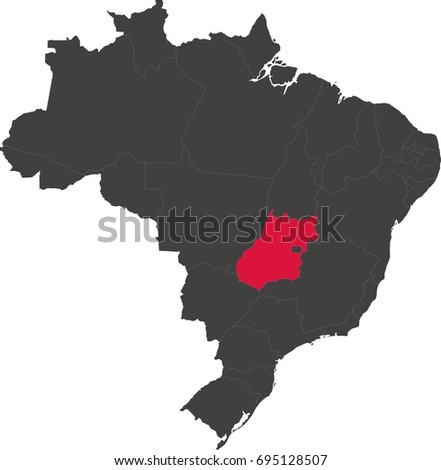 Map of Brazil split into individual states. Highlighted state of Goias.