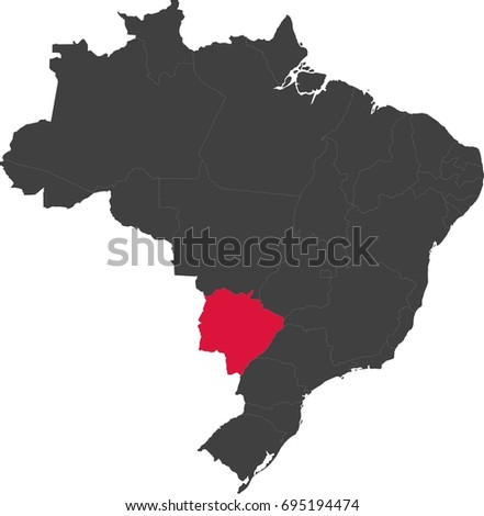 Map of Brazil split into individual states. Highlighted state of Mato Grosso do Sul.