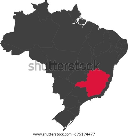 Map of Brazil split into individual states. Highlighted state of Minas Gerais.