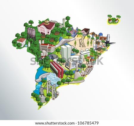 Map Brazil All Capitals Cities Brazil Stock Vector 106785479