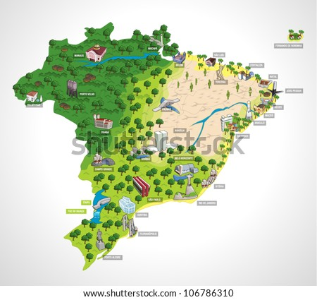 Map of Brazil with all capitals. Cities of Brazil. - stock vector