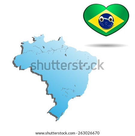 map of brazil with heart flag - stock vector