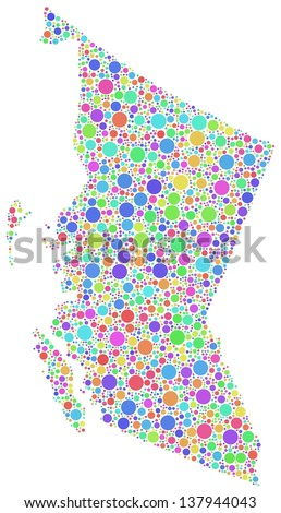 Map of British Columbia (Canada) in a mosaic of harlequin bubbles. A number of 2777 little circles are accurately inserted into the mosaic. White background.