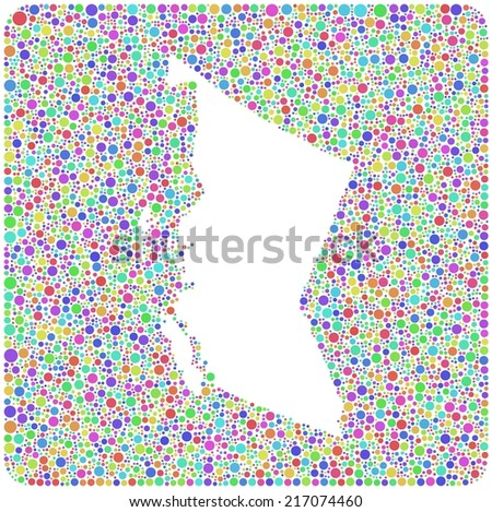Map of British Columbia - Canada - into a colored icon. Mosaic of harlequin bubbles