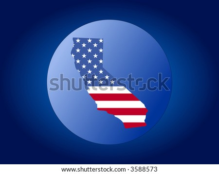 map of California and American flag globe illustration