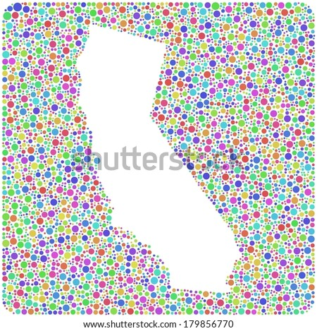 Map of California - USA - in a mosaic of colored bubbles