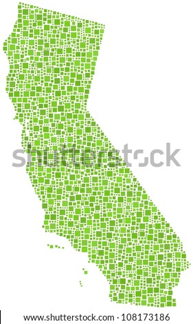 Map of California (USA) in a mosaic of green squares. A number of 2055 squares are accurately inserted into the mosaic. White background.