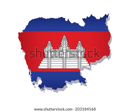 map of Cambodia with the image of the national flag - stock vector