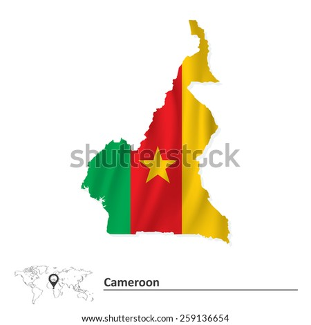 Map of Cameroon with flag - vector illustration - stock vector