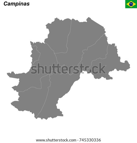 Map Campinas City Borders Districts Stock Vector - Campinas map