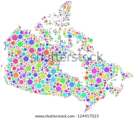 Map of Canada - America - in a mosaic of harlequin bubbles
