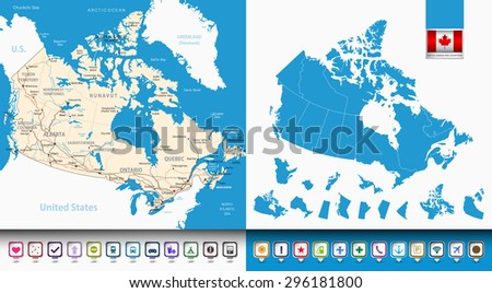 Map of Canada and countours(provinces and territories) with pin navigation icons. All elements are separated in editable layers clearly labeled. All layers are subscribed. - stock vector